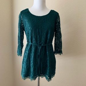 Maternity-Emerald Green Lace Top Size Small